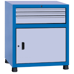 Estante gaveteiro para parafuso com 1 porta e 3 gavetas